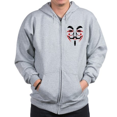 Guy Fawkes - Anonymous Mask Zip Hoodie
