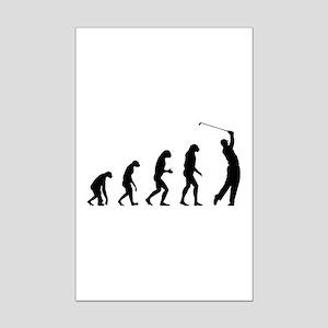 Evolution golfing Mini Poster Print