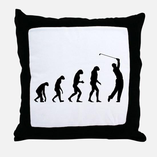 Evolution golfing Throw Pillow