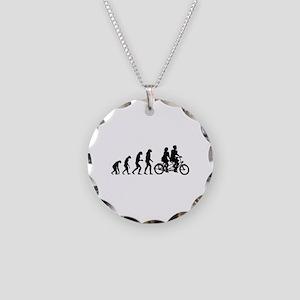 Evolution tandem Necklace Circle Charm