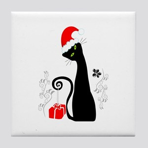Christmas cat Tile Coaster