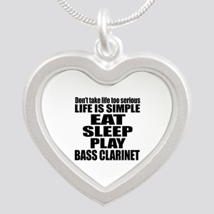 Eat Sleep And Bass Clarinet Silver Heart Necklace