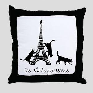 Cats of Paris Throw Pillow