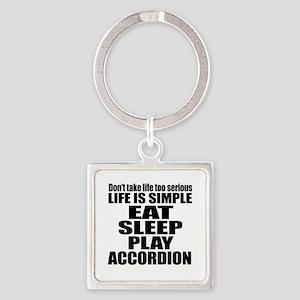 Eat Sleep And Accordion Square Keychain
