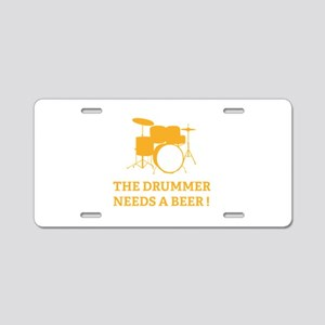 Drummer Beer Aluminum License Plate