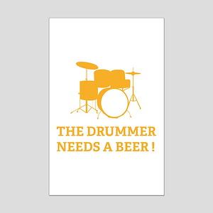 Drummer Beer Mini Poster Print
