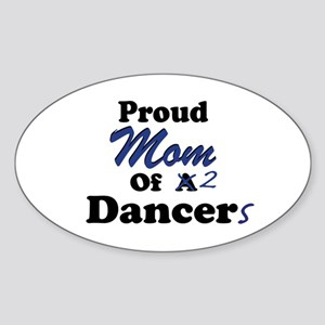 Mom of 2 Dancers Oval Sticker