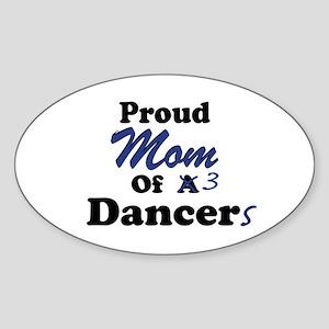 Mom of 3 Dancers Oval Sticker