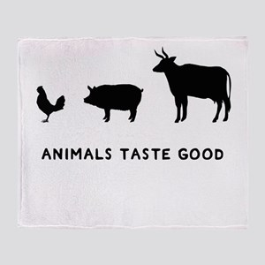 Animals Taste Good Throw Blanket