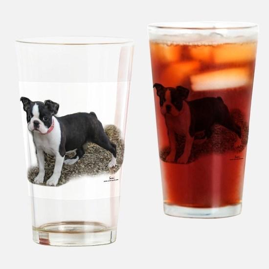 Boston Terrier Pup 1 Drinking Glass