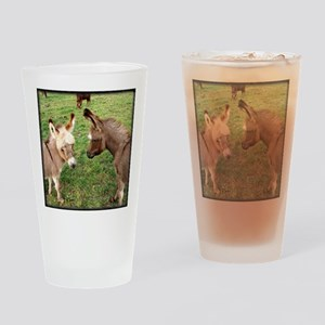 Two Baby Donkeys Drinking Glass
