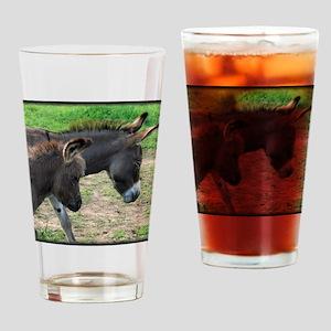 Miniature Donkeys Drinking Glass