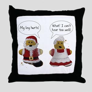My leg hurts! What? Santa Throw Pillow