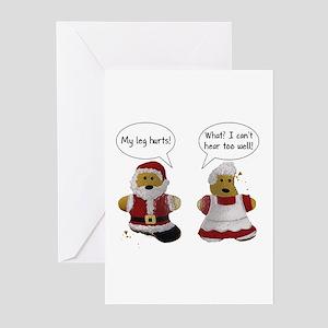 My leg hurts! What? Santa Greeting Cards (Pk of 20