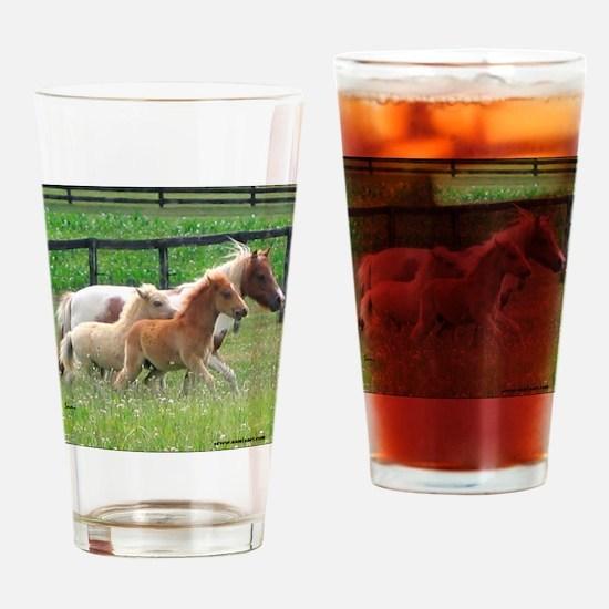 Three Mini Horses Running Drinking Glass
