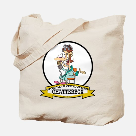 WORLDS GREATEST CHATTERBOX WOMEN CARTOON Tote Bag