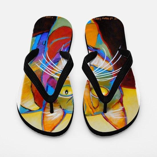 Cat-of-Many-Colors Flip Flops