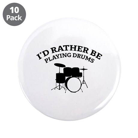"""Playing Drums 3.5"""" Button (10 pack)"""