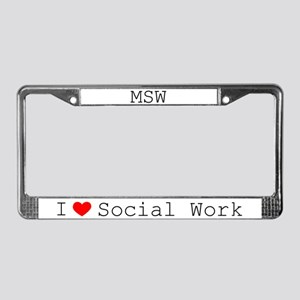 I Love Social Work License Plate Frame-MSW