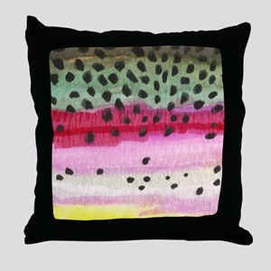 Rainbow Trout Skin Fishing Throw Pillow