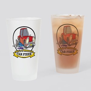 WORLDS GREATEST CAR FIXER CARTOON Drinking Glass