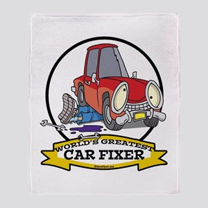 WORLDS GREATEST CAR FIXER CARTOON Throw Blanket