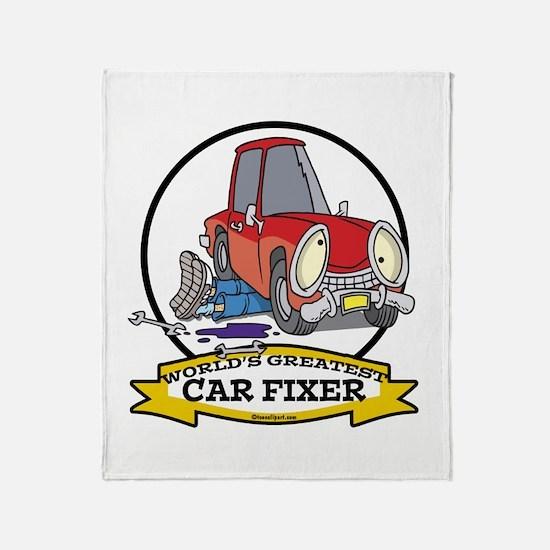 WORLDS GREATEST CAR FIXER CARTOON Throw Blanket