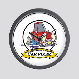 WORLDS GREATEST CAR FIXER CARTOON Wall Clock