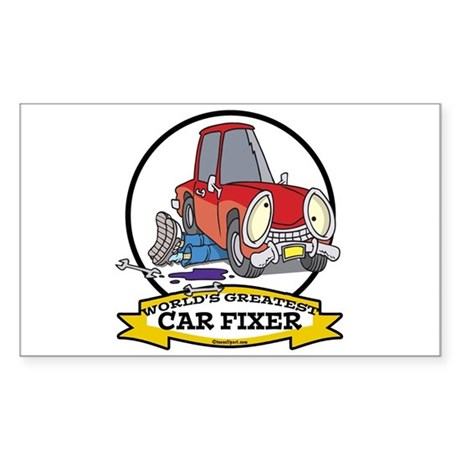 WORLDS GREATEST CAR FIXER CARTOON Sticker (Rectang