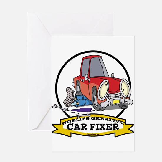 WORLDS GREATEST CAR FIXER CARTOON Greeting Card
