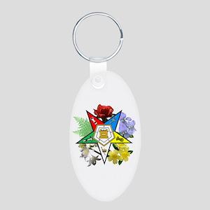 Eastern Star Floral Emblems Aluminum Oval Keychain