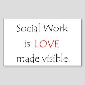 Social Work is Love Rectangle Sticker