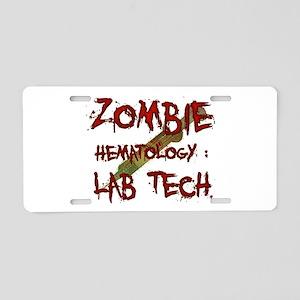 Zombie Hematology Lab Tech Aluminum License Plate