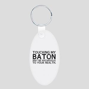 Baton Hazard Aluminum Oval Keychain