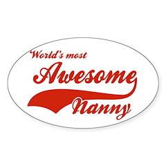 World's Most Awesome Nanny Sticker (Oval 10 pk)