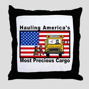School Bus Precious Cargo Throw Pillow