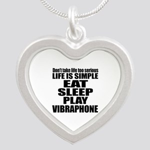 Eat Sleep And Vibraphone Silver Heart Necklace