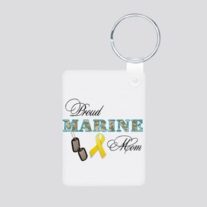Proud Marine Mom Aluminum Photo Keychain
