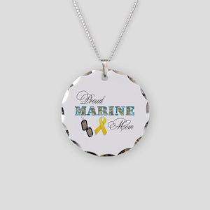 Proud Marine Mom Necklace Circle Charm