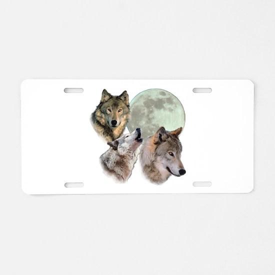 3 Wolf Moon Aluminum License Plate