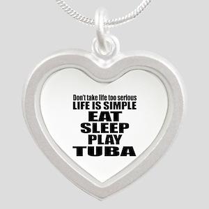 Eat Sleep And Tuba Silver Heart Necklace