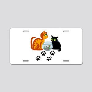 Fish Bowl Kitty Aluminum License Plate