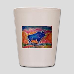 Buffalo,southwest art, Shot Glass