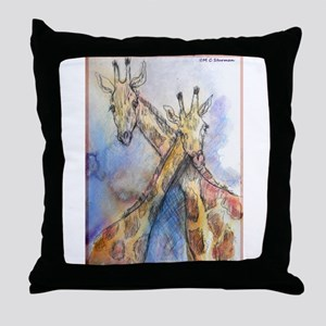Giraffes, wildlife art, Throw Pillow