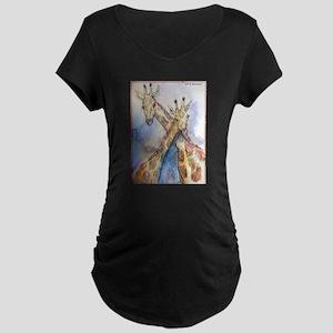 Giraffes, wildlife art, Maternity Dark T-Shirt