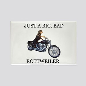 Rottweiler on Motorcycle Rectangle Magnet