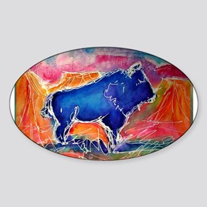 Buffalo,southwest art, Sticker (Oval)