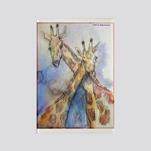 Giraffes, wildlife art, Rectangle Magnet
