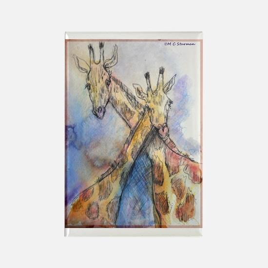 Giraffes, wildlife art, Rectangle Magnet