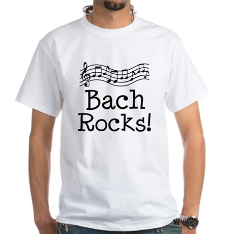 Bach Rocks Music White T-Shirt